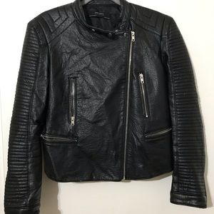 Zara motto Faux leather jacket